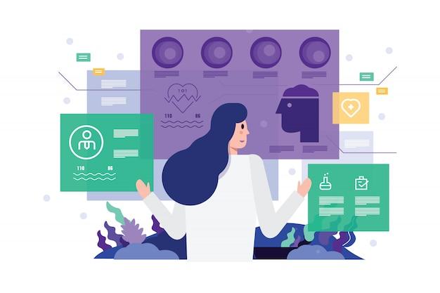Doctor en el hospital trabajando en la interfaz de pantalla virtual moderna.