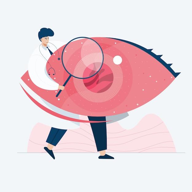 Doctor investigando, ilustración de estilo de dibujos animados