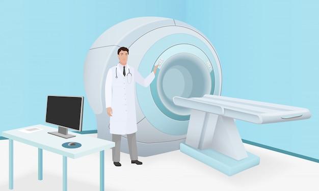 El doctor invita a la máquina escáner de resonancia magnética