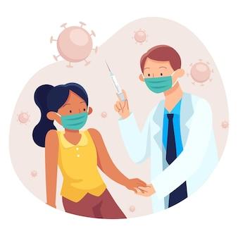 Doctor inyectando la vacuna a un paciente en la clínica