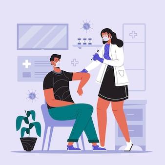 Doctor inyectando vacuna a un paciente ilustrado