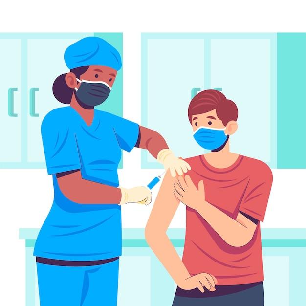 Doctor inyectando vacuna a un paciente