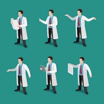 Doctor isométrico plano en el concepto de conjunto de iconos de trabajo