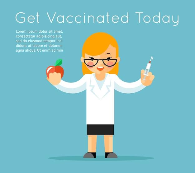 Doctor con jeringa. antecedentes de vacunación médica. vacuna y cuidado, inyección con aguja, manzana y médico. ilustración vectorial