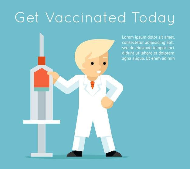 Doctor con jeringa. cartel de vacunación contra la influenza.