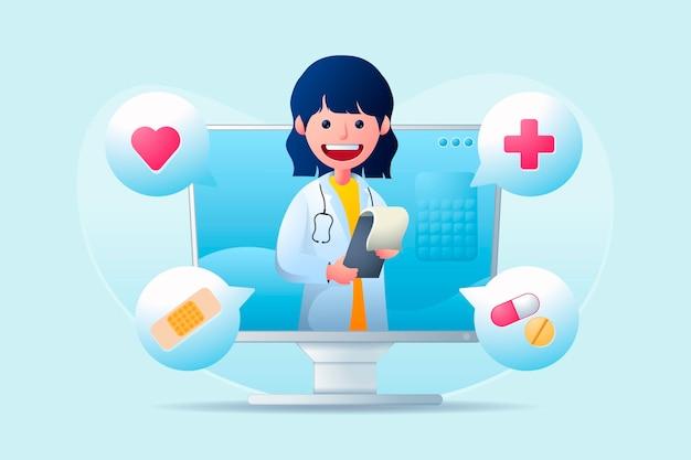 Doctor en línea ayudando a los pacientes