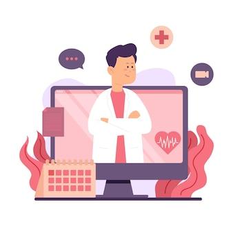 Doctor en línea en bata médica blanca