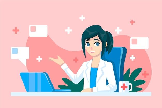 Doctor en línea dando consejos y ayuda