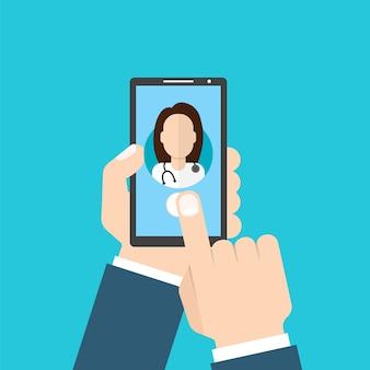 Doctor en línea femenino. hombre, tenencia, teléfono inteligente