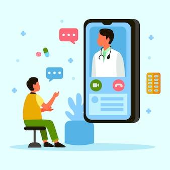 Doctor en línea hablando con el paciente