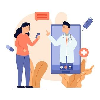 Doctor en línea hablando con su paciente