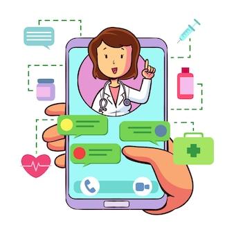 Doctor en línea ilustrado en la aplicación de videollamada