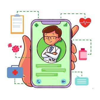 Doctor en línea ilustrado en la aplicación