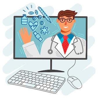 Doctor en línea ilustrado