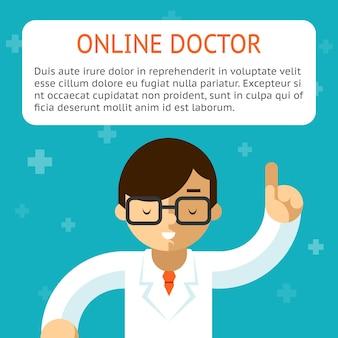 Doctor en línea sobre el fondo turquesa. asesoramiento y tratamiento, indicación y receta. ilustración vectorial