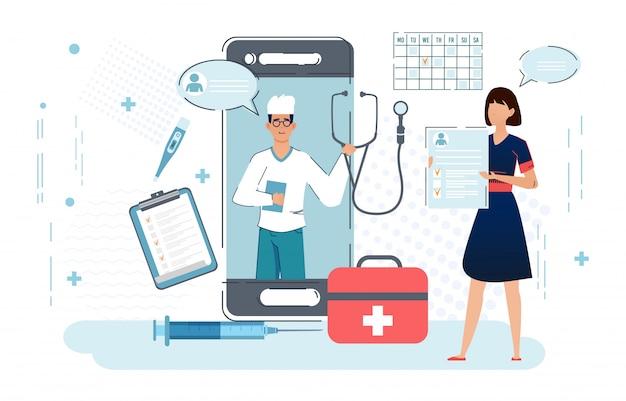 Doctor en línea, telemedicina, servicio médico en línea para pacientes.