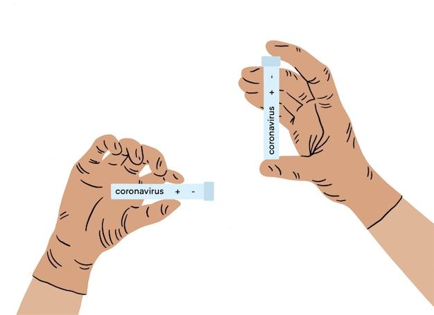 Doctor mano en guantes médicos con un resultado de prueba para el nuevo coronavirus de rápida propagación originado en wuhan china, brote. síndrome respiratorio del virus epidémico.