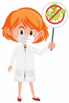 Doctor con máscara y sosteniendo el cartel de parada coronavirus