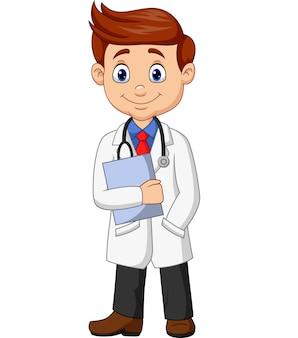 Doctor masculino de la historieta que sostiene un sujetapapeles