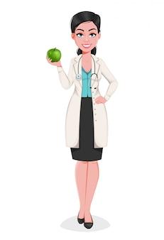 Doctor en medicina mujer personaje de dibujos animados