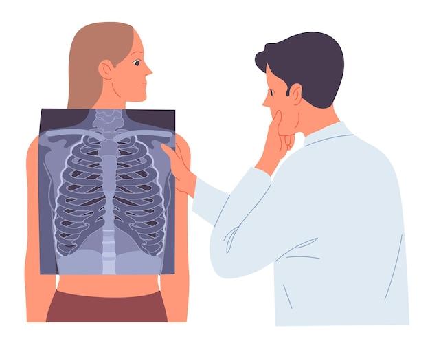 El doctor mira la radiografía de los pulmones del paciente.