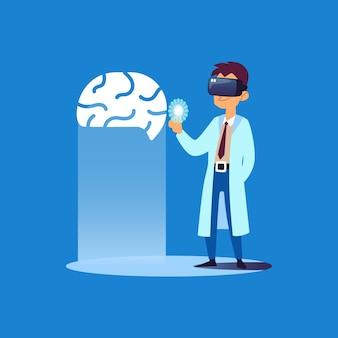 Doctor mirando el cerebro humano aislado en azul