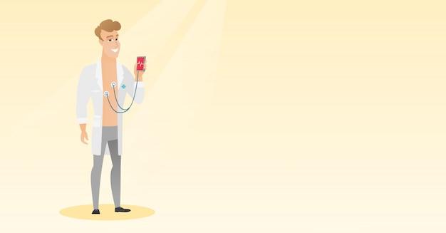 Doctor mostrando aplicación para medir el pulso del corazón.