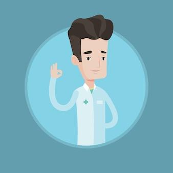 Doctor mostrando signo ok ilustración vectorial.