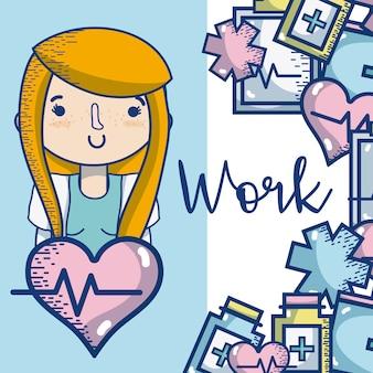 Doctor mujer ocupación lindo y tierna caricatura