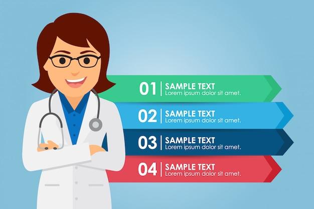 Doctor de la mujer de pie con una infografía
