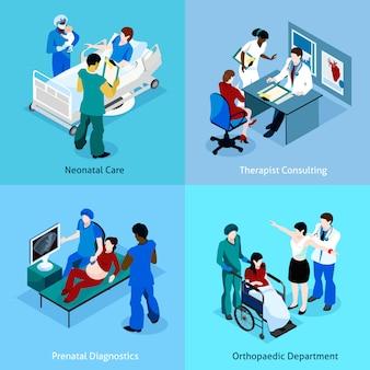 Doctor paciente conjunto de iconos isométricos