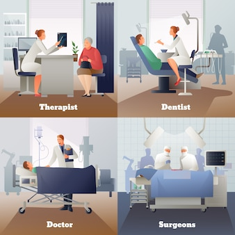 Doctor y pacientes composiciones de gradiente