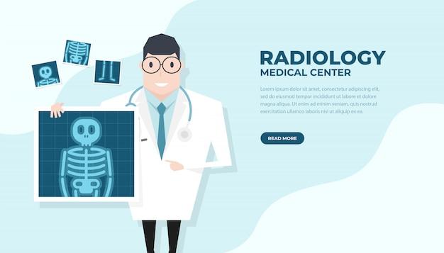 Doctor con película de rayos x. bandera de chequeo de salud.