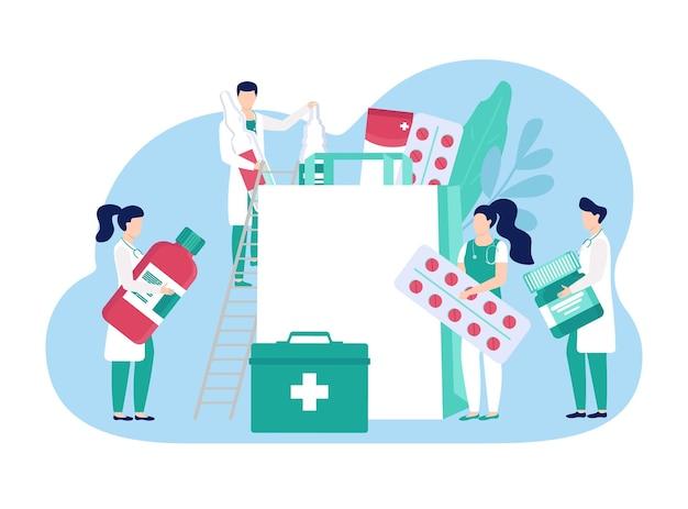 Doctor pequeño personaje masculino femenino mantenga producto farmacéutico