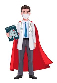 Doctor personaje de dibujos animados doctor superhéroe masculino guapo