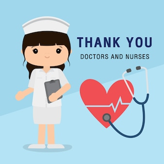 Doctor personaje de dibujos animados. gracias a los médicos y enfermeras que trabajan en el hospital y luchan contra el coronavirus, ilustración de la enfermedad del virus covid-19 wuhan.