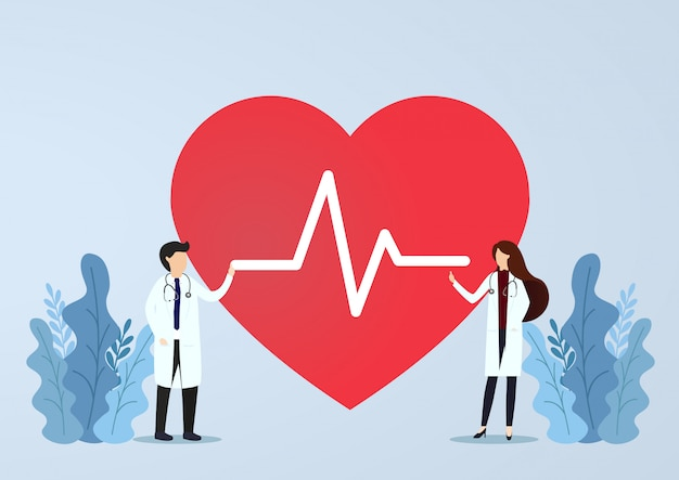 Doctor de pie con signo de latidos del corazón. concepto de salud. ilustración vectorial