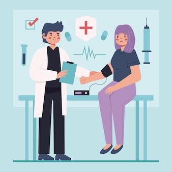 Doctor plano examinando a un paciente en la clínica ilustrada