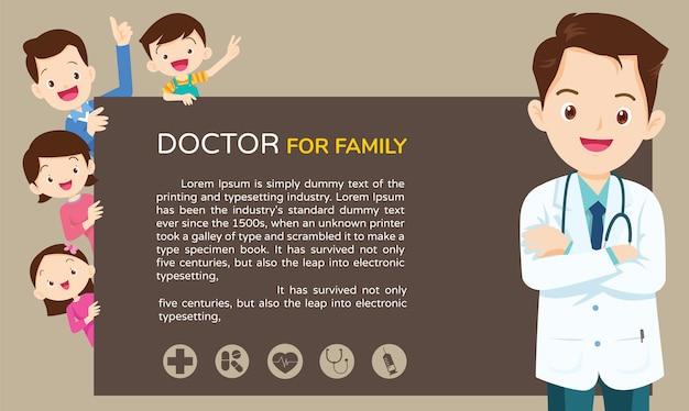 Doctor y plantilla de fondo familiar lindo