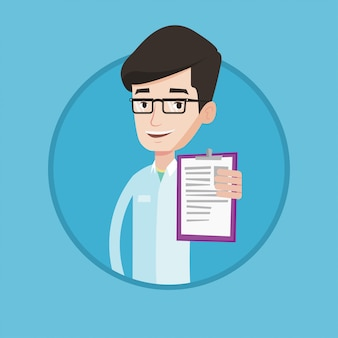 Doctor con portapapeles ilustración vectorial.