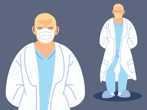 Doctor, posición, llevando, mascarilla