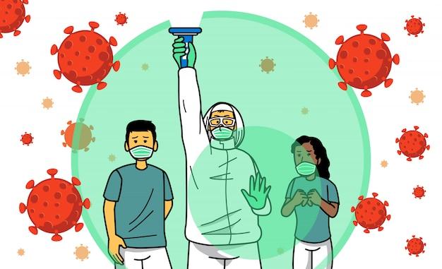 Doctor protegiendo a los pacientes del virus.