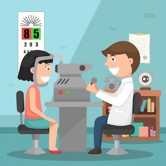 Doctor realizando ilustración examen físico