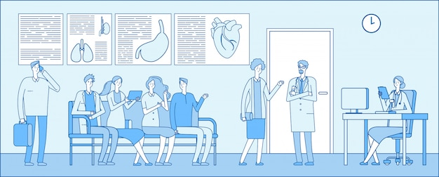 Doctor sala de espera. doctor sala de espera. personas pacientes hospital cola médicos clínica interior. concepto de profesionales médicos