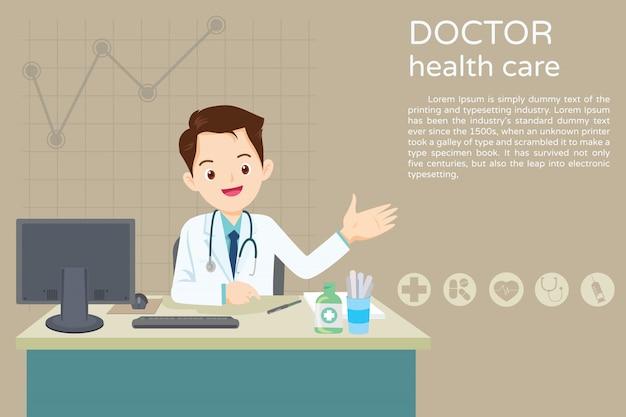 Doctor sentado en la mesa