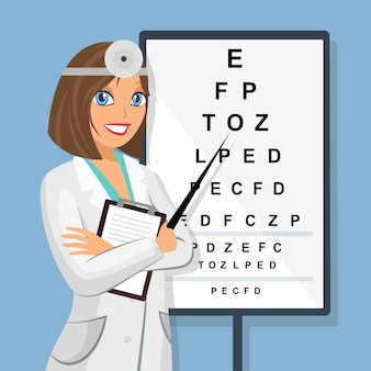 Doctor en sight check board para exámenes de la vista.