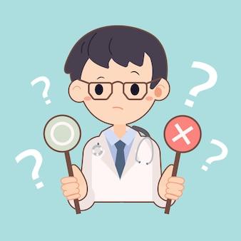 Doctor sosteniendo etiquetas de correcto e incorrecto en azul