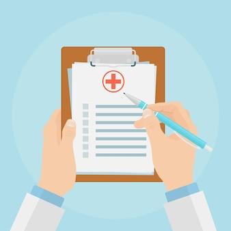 Doctor sosteniendo el portapapeles médico y toma notas sobre él ilustración