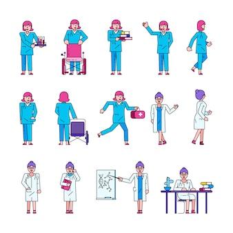 Doctor trabajador médico mujer vector ilustración colección conjunto aislado.