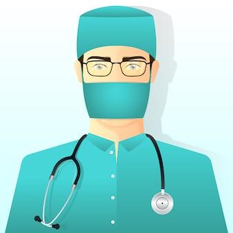Doctor en traje de cirugía y máscara con estetoscopio